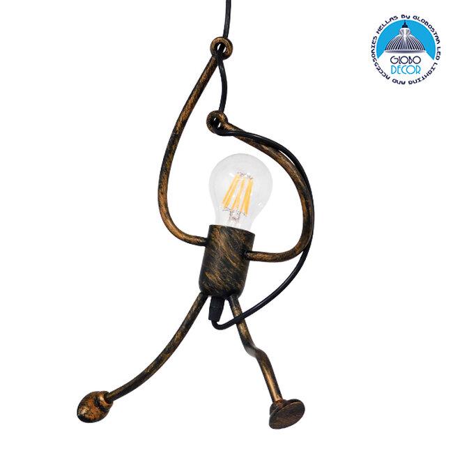 Μοντέρνο Κρεμαστό Φωτιστικό Οροφής Μονόφωτο Καφέ Σκουριά Μεταλλικό Φ20  LITTLE MAN IRON RUST 01653 - 1