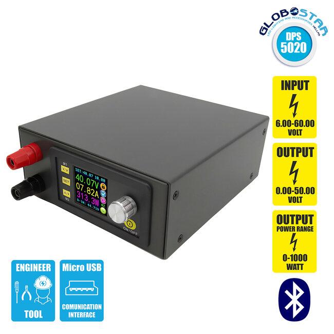 GloboStar® 79984 DPS5020-USB-BT Ψηφιακό Δοκιμαστικό Εργαλείο Ηλεκτρονικού/Τεχνικού Τμήματος Ρυθμιζόμενης Τάσης & Ampere - Βολτόμετρο/Αμπερόμετρο/Βατόμετρο Μετατροπέας με LCD Οθόνη Max Output 0-20A/DC