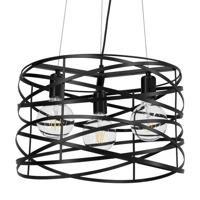 TOKEN 00855 Μοντέρνο Industrial Κρεμαστό Φωτιστικό Οροφής Τρίφωτο Μαύρο Μεταλλικό Πλέγμα Φ43 x Υ29cm - 2