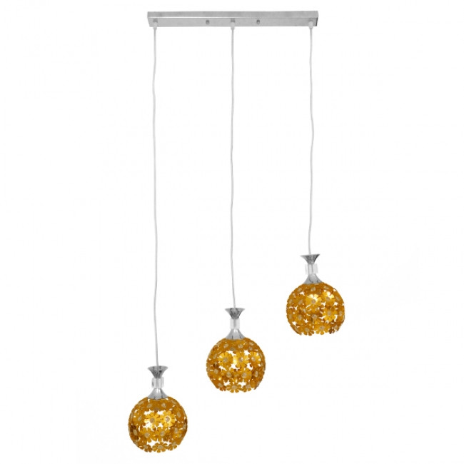 Μοντέρνο Κρεμαστό Φωτιστικό Οροφής Τρίφωτο Χρυσό Μεταλλικό με Κρύσταλλα GloboStar MARGARO 01671 - 4