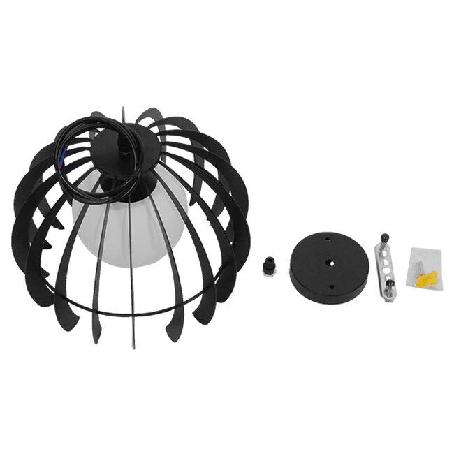 Μοντέρνο Κρεμαστό Φωτιστικό Οροφής Μονόφωτο Μαύρο Μεταλλικό Πλέγμα με Λευκό Γυαλί Φ26  INGLEY 01226 - 9