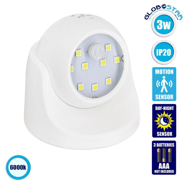 79000 Λευκό Φωτιστικό Μπαταρίας σε Σχήμα Κάμερας LED SMD 3W 300lm με Αισθητήρα Ημέρας-Νύχτας και PIR Αισθητήρα Κίνησης Ψυχρό Λευκό 6000K - 1