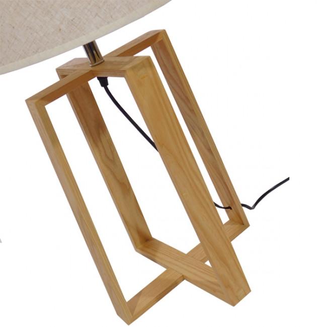 Μοντέρνο Επιτραπέζιο Φωτιστικό Πορτατίφ Μονόφωτο Ξύλινο με Μπεζ Καπέλο Φ30 GloboStar SQUID 01265 - 6
