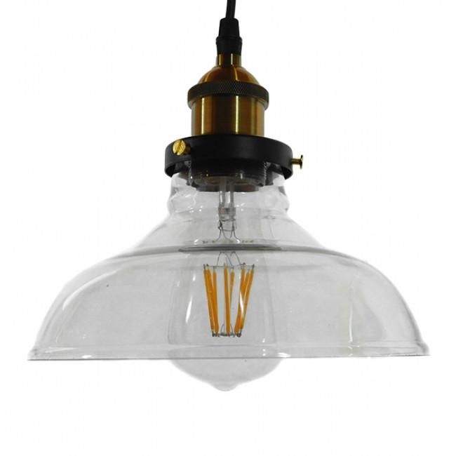 Vintage Κρεμαστό Φωτιστικό Οροφής Μονόφωτο Γυάλινο Καμπάνα Φ20 GloboStar BINGLEY 01075 - 3