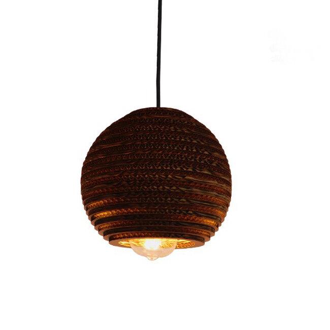 Vintage Κρεμαστό Φωτιστικό Οροφής Μονόφωτο 3D από Επεξεργασμένο Σκληρό Καφέ Χαρτόνι Καμπάνα Φ20  SANTORINI 01288 - 7