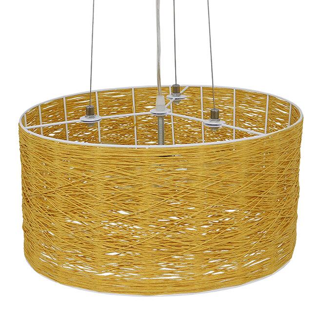 Vintage Κρεμαστό Φωτιστικό Οροφής Μονόφωτο Καφέ Ξύλινο Bamboo Φ40  MADAGASKAR 01630 - 5