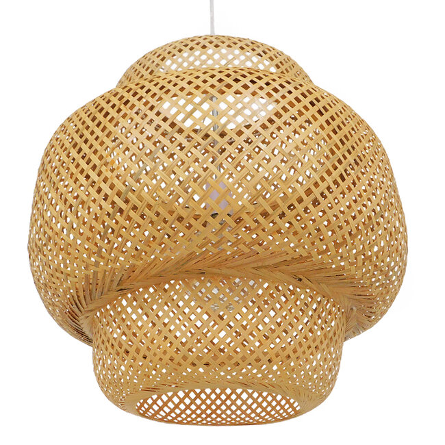 Vintage Κρεμαστό Φωτιστικό Οροφής Μονόφωτο Καφέ Ξύλινο Bamboo Φ56  MALVIDES LIGHT BROWN 01657 - 6