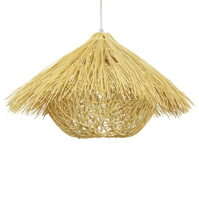 Vintage Κρεμαστό Φωτιστικό Οροφής Μονόφωτο Μπεζ Ξύλινο Ψάθινο Rattan Φ50 GloboStar CHEOPE 01599 - 3