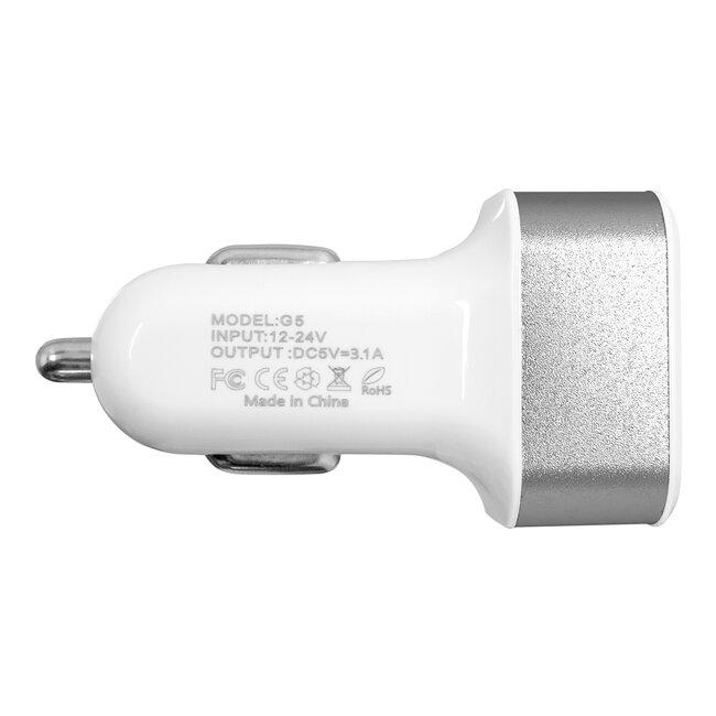 Globostar® 79501 Ασημί Φορτιστής Αυτοκινήτου DC 12-24V με 3 Εξόδους USB DC 5V Max 3.1A 20W και Καλώδιο USB σε Type-C - 3