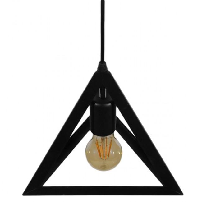 Μοντέρνο Κρεμαστό Φωτιστικό Οροφής Μονόφωτο Μαύρο Μεταλλικό Πλέγμα Φ25 GloboStar TRIANGLE 01063 - 4
