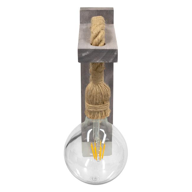 KENSI 00879 Vintage Φωτιστικό Τοίχου Απλίκα Μονόφωτο Γκρι Ξύλινο με Σχοινί Μ7 x Π20 x Υ30cm - 6