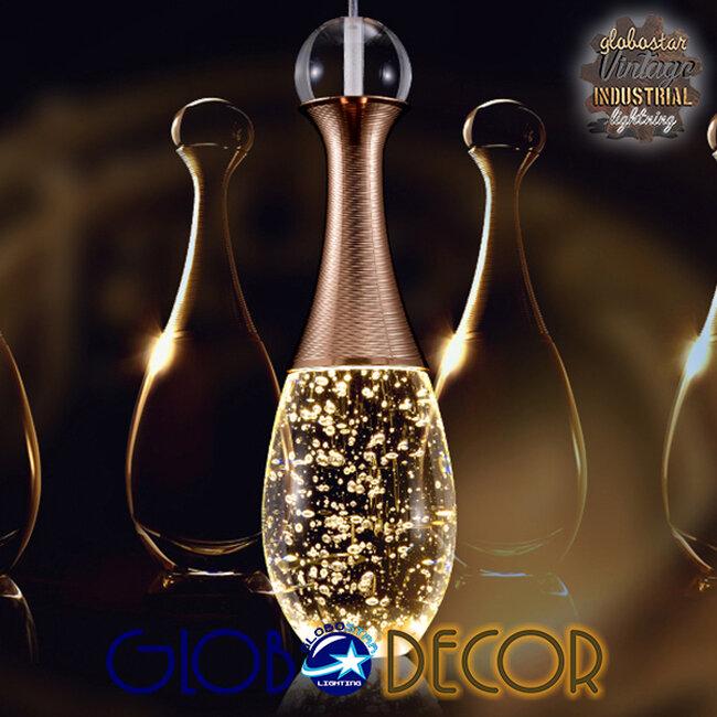 Μοντέρνο Κρεμαστό Φωτιστικό Οροφής Μονόφωτο LED Χάλκινο με Φυσητό Γυαλί  JADORE 01232 - 16