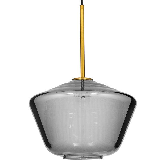 GloboStar® AMARIS 00873 Μοντέρνο Κρεμαστό Φωτιστικό Οροφής Μονόφωτο Γυάλινο Φιμέ Νίκελ Φ30 x 22CM - 4