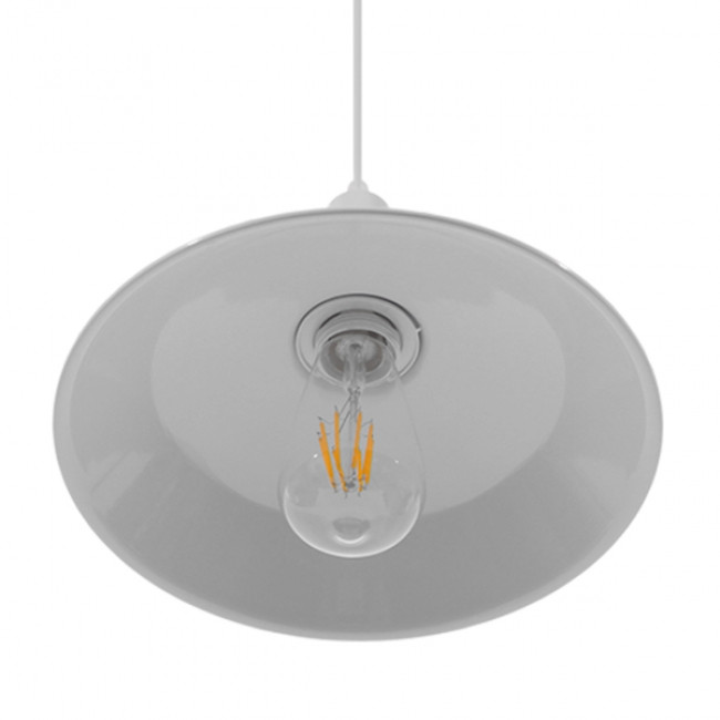 Vintage Industrial Κρεμαστό Φωτιστικό Οροφής Μονόφωτο Λευκό Μεταλλικό Καμπάνα Φ26 GloboStar RAY WHITE 01044 - 6