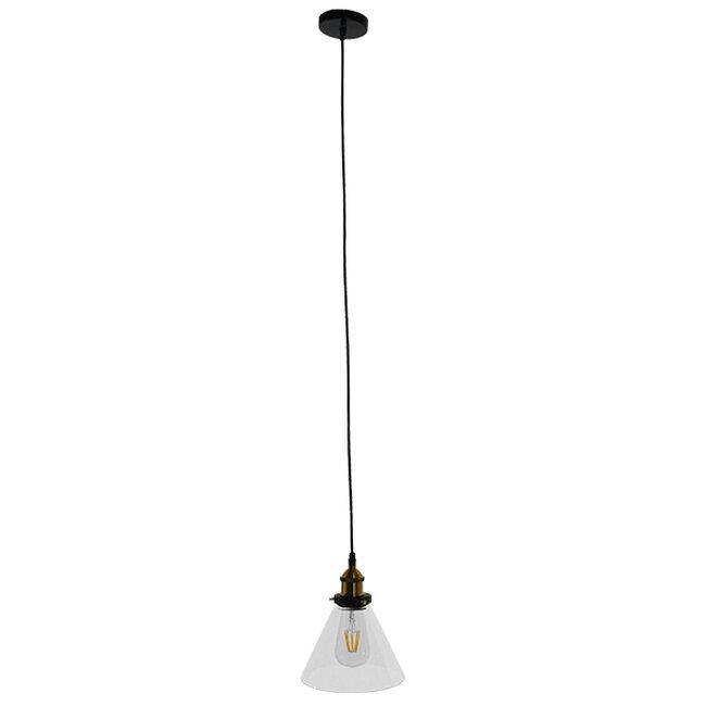 Vintage Κρεμαστό Φωτιστικό Οροφής Μονόφωτο Γυάλινο Καμπάνα Φ18  CONE 01169 - 2