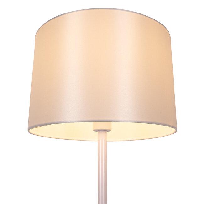 ASHLEY 00826 Μοντέρνο Φωτιστικό Δαπέδου Μονόφωτο Μεταλλικό Λευκό με Καπέλο και Ξύλινη Λεπτομέρεια Φ40 x Υ145cm - 4