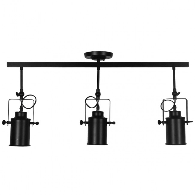 Vintage Φωτιστικό Οροφής Τρίφωτο Μαύρο Μεταλλικό Ράγα GloboStar HOLLYWOOD 01155 - 4