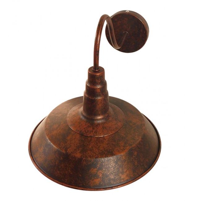 Vintage Industrial Φωτιστικό Τοίχου Απλίκα Μονόφωτο Καφέ Σκουριά Μεταλλικό Καμπάνα Φ26 GloboStar SORD IRON RUST 01067 - 5