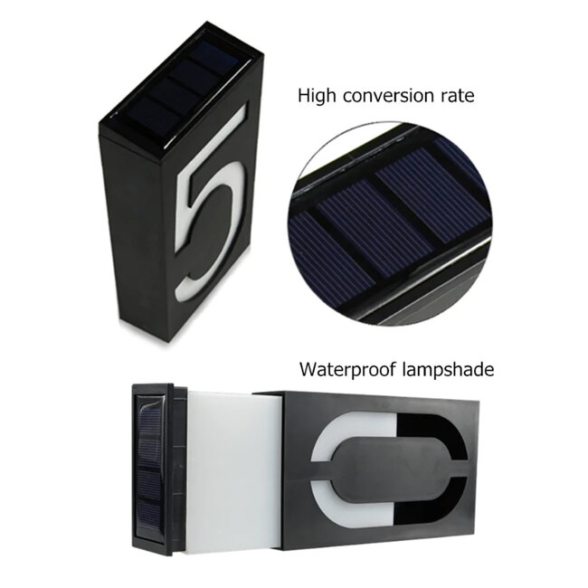 GloboStar® 71515 Αυτόνομο Ηλιακό Φωτιστικό LED SMD 1W 100 lm με Ενσωματωμένη Μπαταρία 1000mAh - Φωτοβολταϊκό Πάνελ με Αισθητήρα Ημέρας-Νύχτας για Αρίθμηση Δρόμου με Αριθμό 5 IP55 Ψυχρό Λευκό 6000k - 9