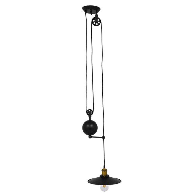 Vintage Industrial Κρεμαστό Φωτιστικό Οροφής Μονόφωτο Μαύρο Μεταλλικό με Ρυθμιζόμενη Ανάρτηση  SCALES 01549 - 2