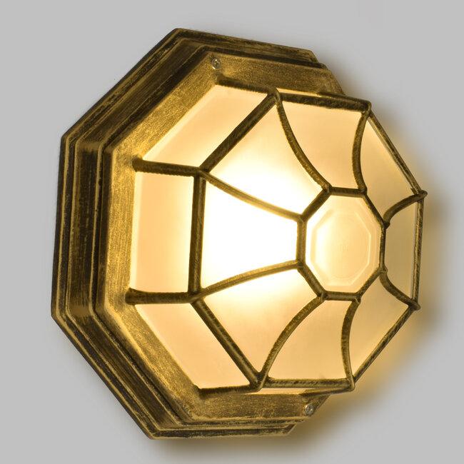 RUBY 00914 Vintage Μεταλλικό Φωτιστικό Πλαφονιέρα Οροφής - Απλίκα Τοίχου από Αλουμίνιο με Ντουί E27 Μονόφωτο Μπρούτζινο Σκουριά με Γαλακτερό Γυαλί Μ27 x Π27 x Υ12cm - 3