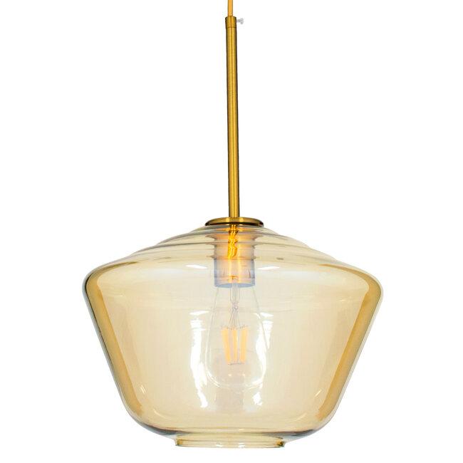 GloboStar® AMARIS 00870 Μοντέρνο Κρεμαστό Φωτιστικό Οροφής Μονόφωτο Γυάλινο Φιμέ Μελί Φ30 x 22CM - 4