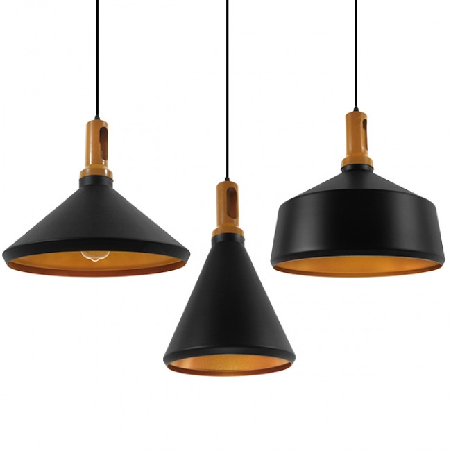 SET 3 Μοντέρνα Κρεμαστά Φωτιστικά Οροφής Μονόφωτα Μαύρο & Χρυσό Μεταλλικά με Ξύλινη Βάση Καμπάνα GloboStar CALYPSO 01334