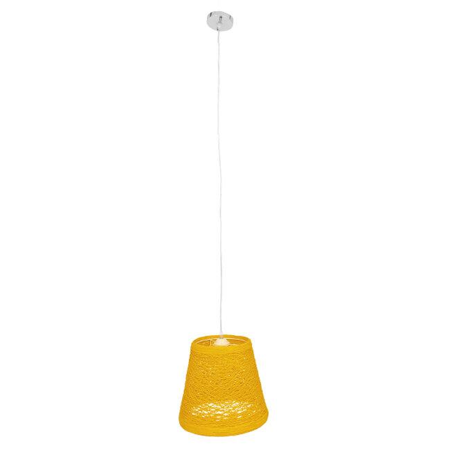 Vintage Κρεμαστό Φωτιστικό Οροφής Μονόφωτο Κίτρινο Ξύλινο Ψάθινο Rattan Φ32  ARGENT YELLOW 00998 - 2