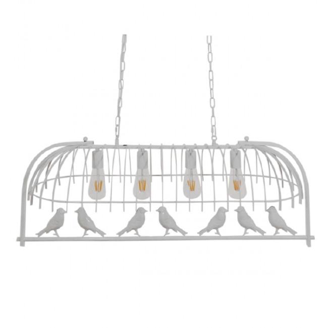 Vintage Industrial Κρεμαστό Φωτιστικό Οροφής Πολύφωτο Λευκό Μεταλλικό Πλέγμα  NIDUS 01403 - 7