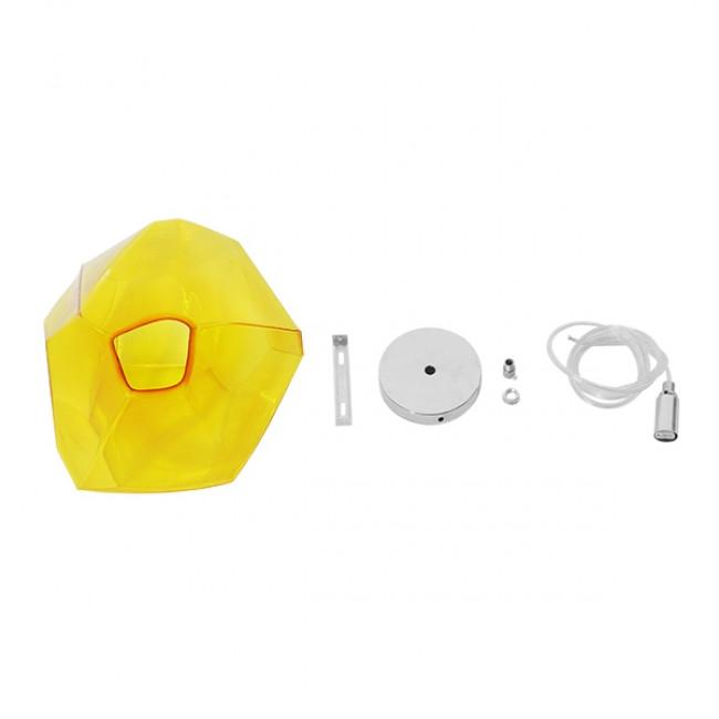 Μοντέρνο Κρεμαστό Φωτιστικό Οροφής Μονόφωτο Γυάλινο Κίτρινο Διάφανο GloboStar RINA 01308 - 7
