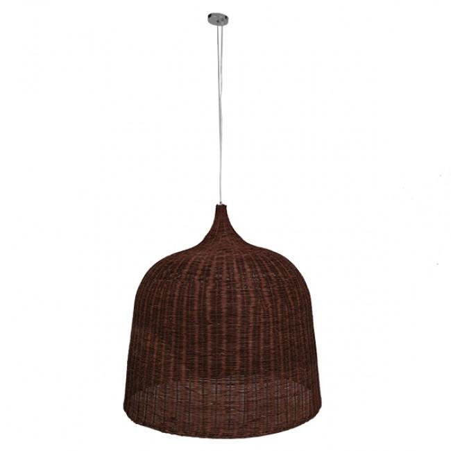 Vintage Κρεμαστό Φωτιστικό Οροφής Μονόφωτο Καφέ Σκούρο Ξύλινο Ψάθινο Rattan Φ90 GloboStar EDEN 01569 - 2