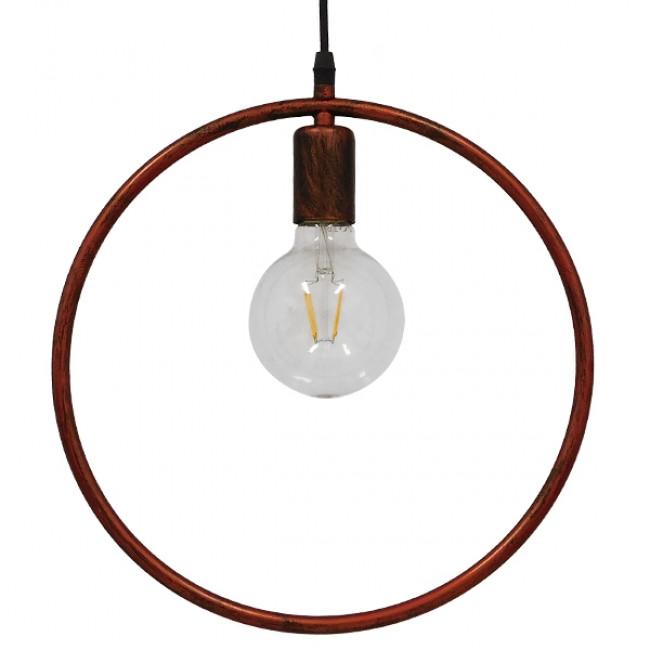 Μοντέρνο Κρεμαστό Φωτιστικό Οροφής Μονόφωτο Καφέ Σκουριά Μεταλλικό Φ33 GloboStar OMICRON IRON RUST 01579 - 4