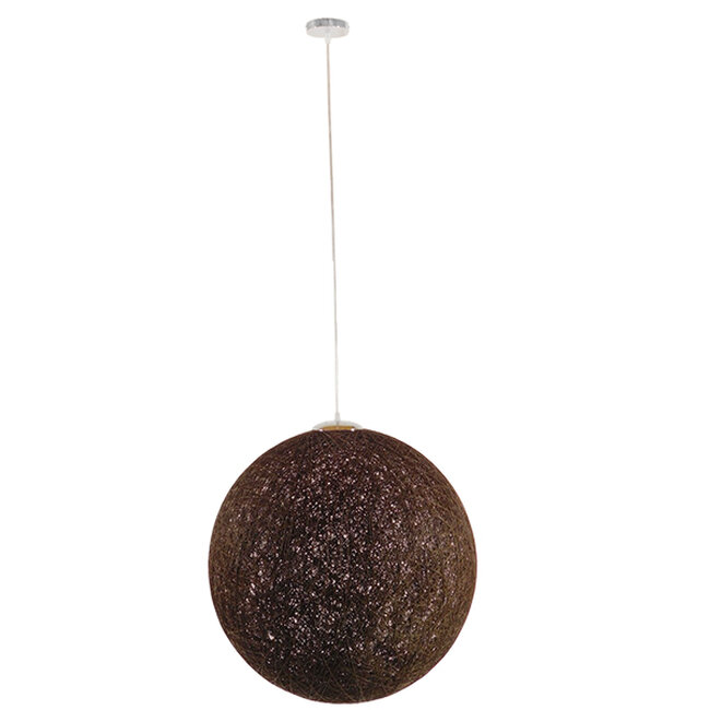 Vintage Κρεμαστό Φωτιστικό Οροφής Μονόφωτο Καφέ Ξύλινο Ψάθινο Rattan Φ60  PETAL 01362 - 2