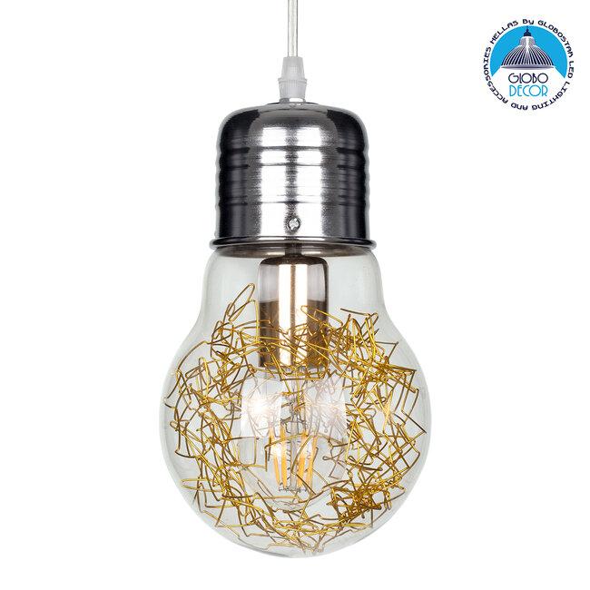 LAMP 00807 Μοντέρνο Κρεμαστό Φωτιστικό Οροφής Μονόφωτο Ασημί Νίκελ Βάση και Χρυσό Ντουί Μεταλλικό Διάφανο Γυαλί Φ15 x Υ27cm - 1