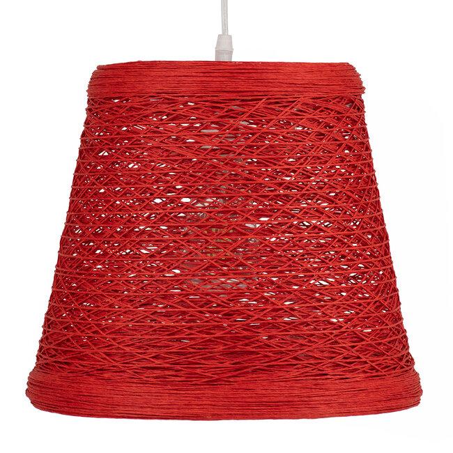 PLAYROOM 00863 Vintage Κρεμαστό Φωτιστικό Οροφής Μονόφωτο Κόκκινο Ξύλινο Ψάθινο Rattan Φ32 x Υ27cm - 5