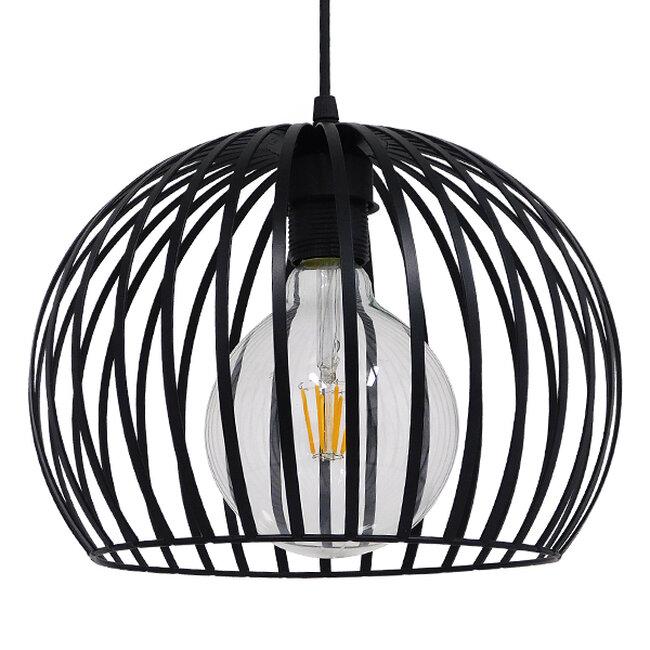 Μοντέρνο Industrial Κρεμαστό Φωτιστικό Οροφής Μονόφωτο Μαύρο με Εκρού Μεταλλικό Πλέγμα Φ28  CARTER Φ28 00960 - 6