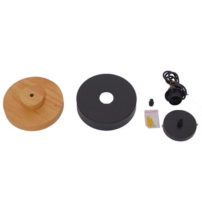 Μοντέρνο Κρεμαστό Φωτιστικό Οροφής Μονόφωτο Μαύρο Μεταλλικό με Φυσικό Ξύλο Καμπάνα Φ18  RUHIEL 01233 - 8