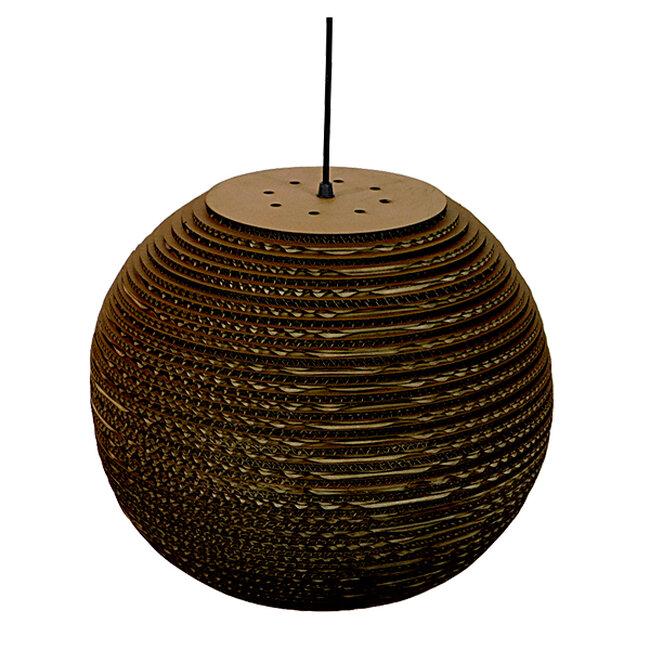 Vintage Κρεμαστό Φωτιστικό Οροφής Μονόφωτο 3D από Επεξεργασμένο Σκληρό Καφέ Χαρτόνι Καμπάνα Φ40 GloboStar CRETE 01289 - 5