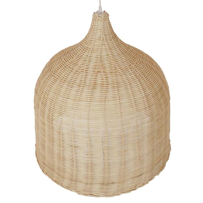 Vintage Κρεμαστό Φωτιστικό Οροφής Μονόφωτο Μπεζ Ξύλινο Ψάθινο Rattan Φ60  ROOSEVELT 01370 - 3