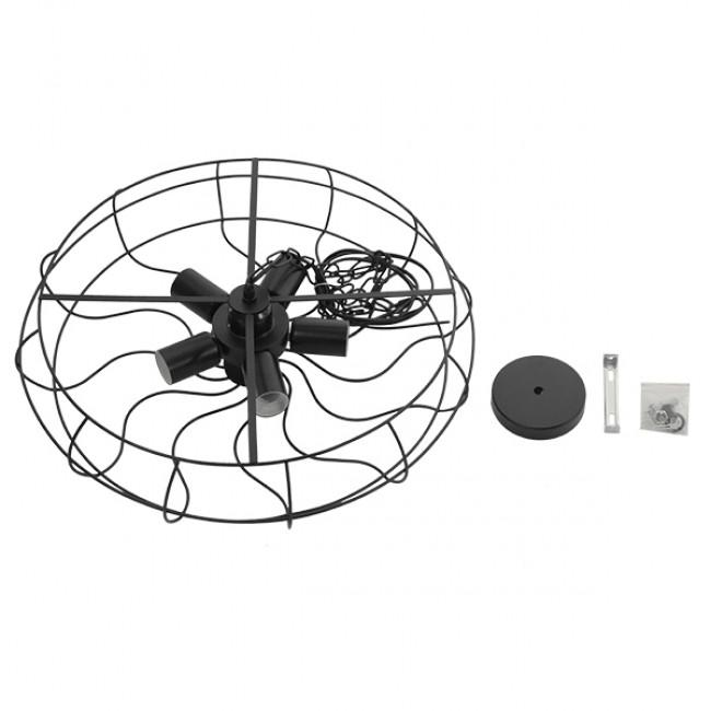 Vintage Industrial Κρεμαστό Φωτιστικό Οροφής Πολύφωτο Μαύρο Μεταλλικό Πλέγμα Φ46  HELIX 01164 - 9