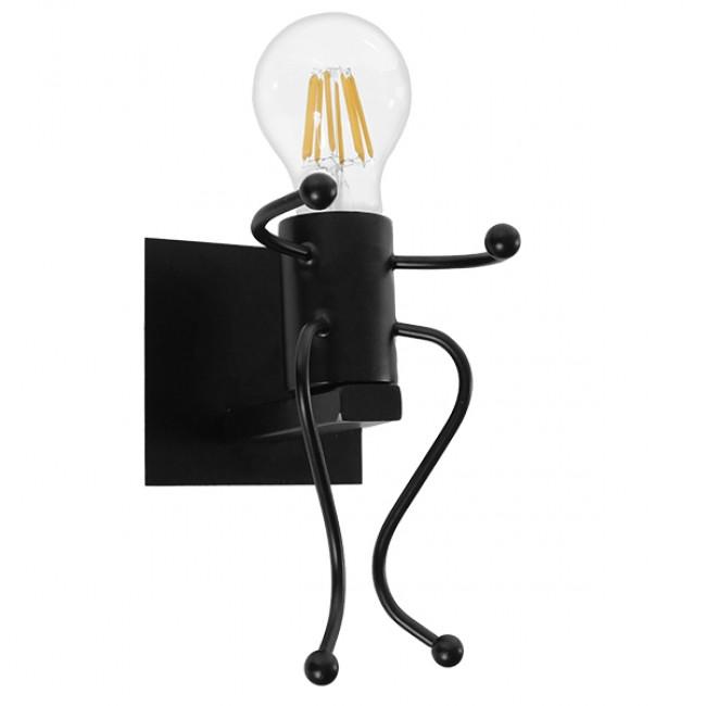 Μοντέρνο Φωτιστικό Τοίχου Απλίκα Μονόφωτο Μαύρο Μεταλλικό GloboStar JOYCE 01388 - 1
