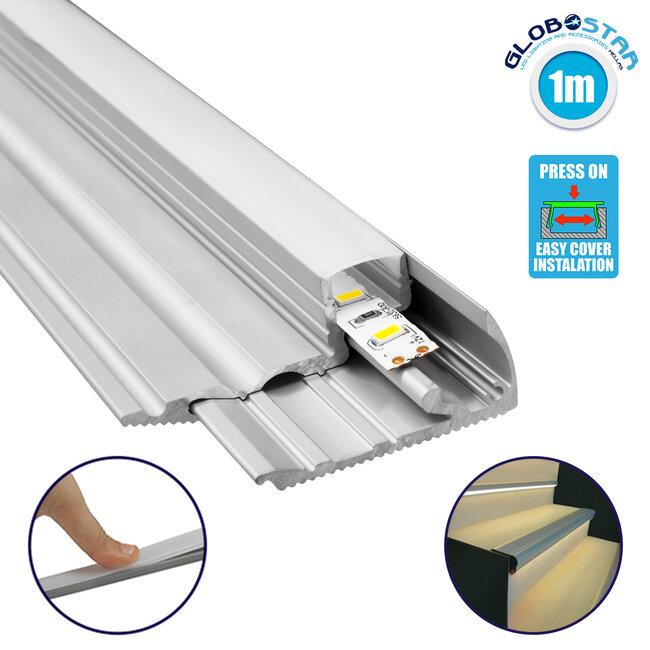 GloboStar® 70823-1M Προφίλ Αλουμινίου για Σκαλοπάτια Ανοδιωμένο με Λευκό Οπάλ Κάλυμμα για 1 Σειρά Ταινίας LED Πατητό - Press On