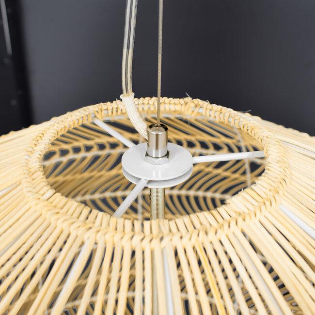 GloboStar® MALIBU 00974 Vintage Κρεμαστό Φωτιστικό Οροφής Μονόφωτο Μπεζ Ξύλινο Bamboo Φ97 x Y86cm - 6