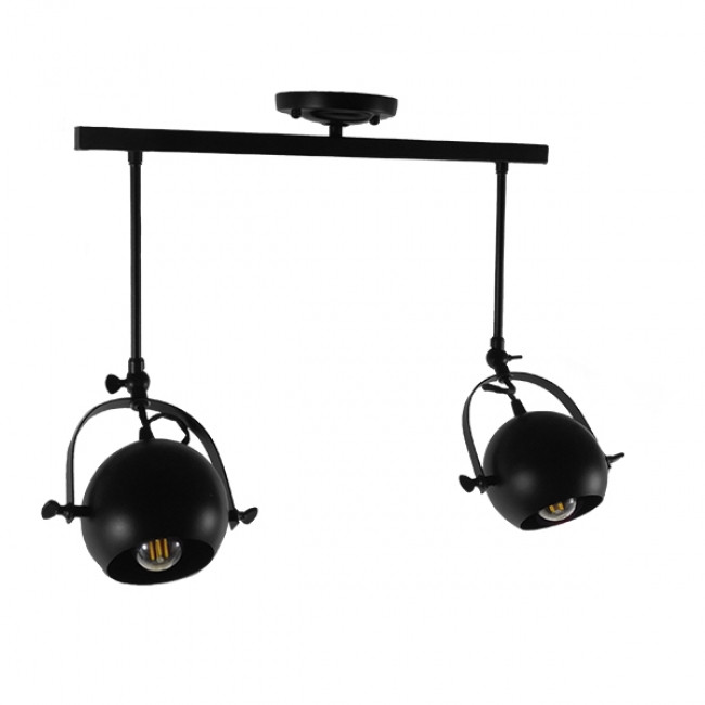Μοντέρνο Φωτιστικό Οροφής Δίφωτο Μαύρο Μεταλλικό Ράγα  CANNES 01081 - 2