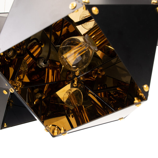 WELLES Replica 00796 Μοντέρνο Κρεμαστό Φωτιστικό Οροφής Πολύφωτο Μεταλλικό Μαύρο Χρυσό Μ68 x Π32 x Υ30cm - 7