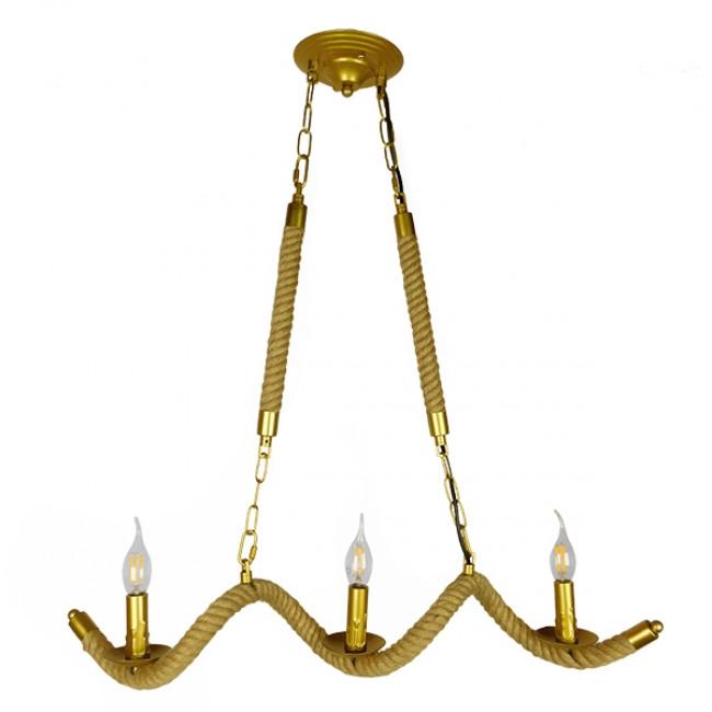 Vintage Κρεμαστό Φωτιστικό Οροφής Τρίφωτο Χρυσό Μεταλλικό με Μπεζ Σχοινί GloboStar LUXOR 01598 - 1