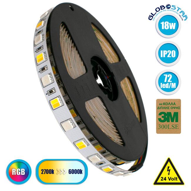 GloboStar® 70266 Ταινία LED SMD 5050 RGBW + WW 5in1 5m 18W/m 72LED/m 120° DC 24V IP20 1150lm/m Ψυχρό Λευκό 6000k & 1050lm/m Θερμό Λευκό 3000k & 900lm/m RGB
