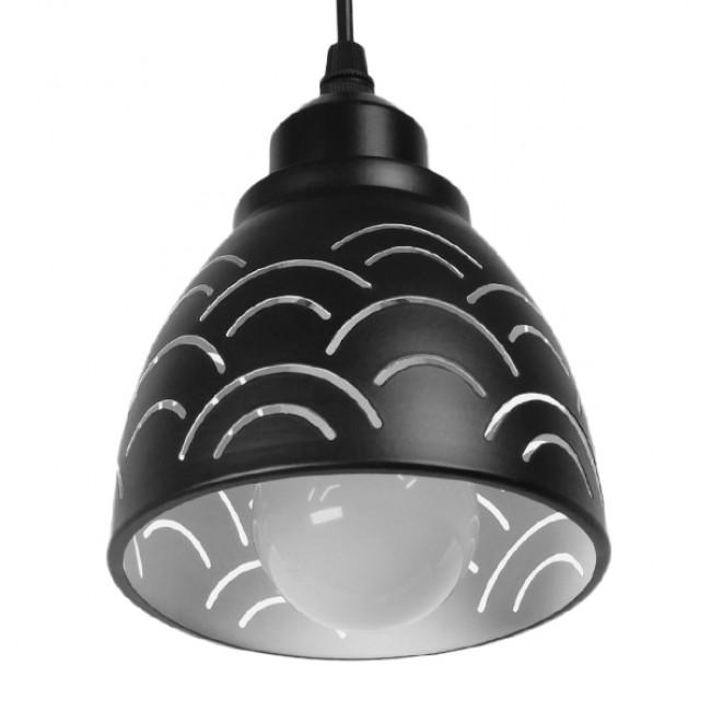 Μοντέρνο Κρεμαστό Φωτιστικό Οροφής Μονόφωτο Μεταλλικό Μαύρο Λευκό Καμπάνα Φ13 GloboStar CLOUD 01482 - 5