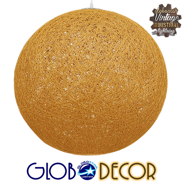 Vintage Κρεμαστό Φωτιστικό Οροφής Μονόφωτο Μπεζ Χρυσό Ξύλινο Ψάθινο Rattan Φ60  LOFT 01361 - 1