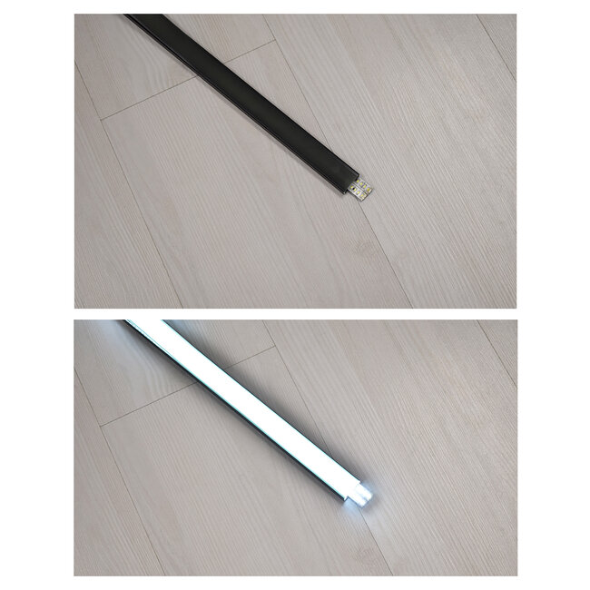 GloboStar® 70810-1M Επιφανειακό Προφίλ Αλουμινίου Μαύρο με Μαύρο Οπάλ Κάλυμμα για 2 Σειρές Ταινίας LED Πατητό - Press On 1 Μέτρο - 4